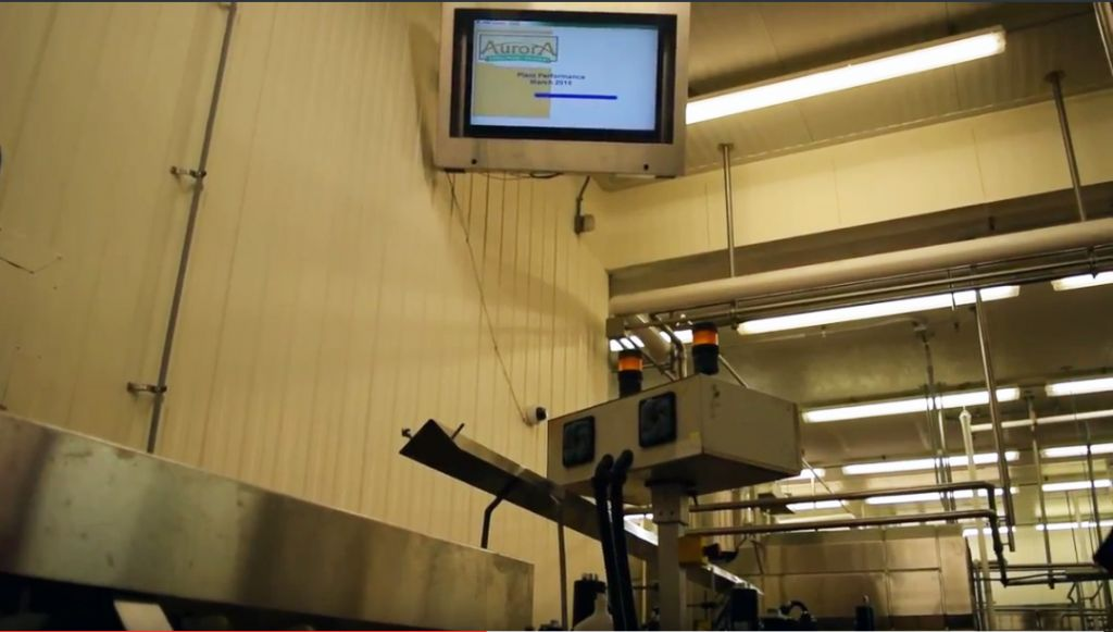 Stainless steel LCD TV Enclosure in a dairy processing plant.