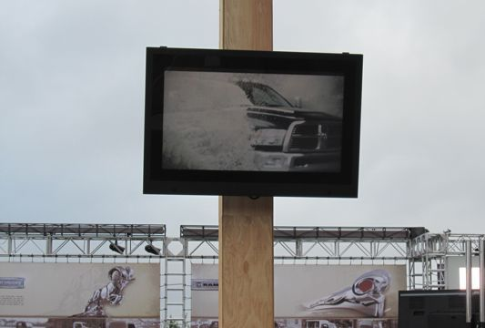 LCD Guardians providing protection to TVs at an outdoor truck rally.