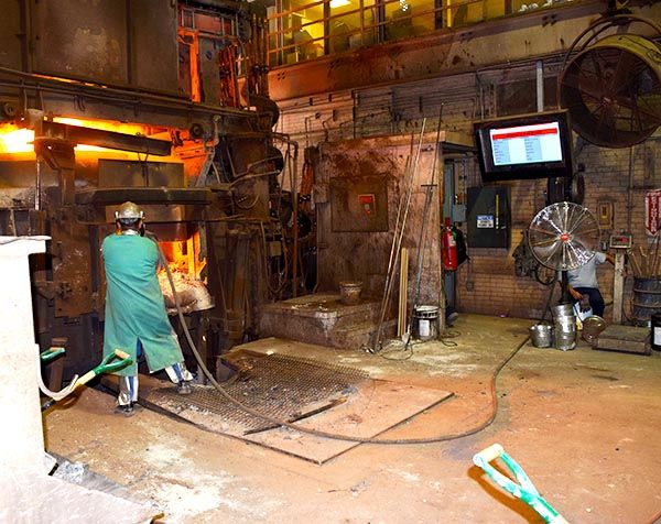 Metal foundry installation where temperatures around the TV often reach 160 Fahrenheit or more.