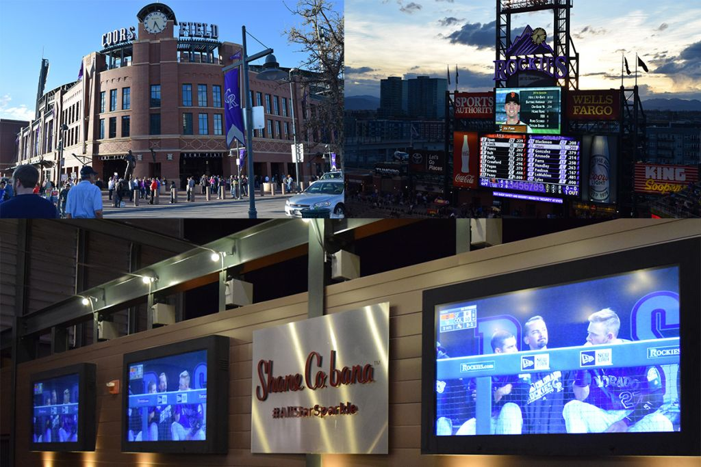 Fans take in the game on our LCD Enclosures at the Colorado Rockies baseball stadium.