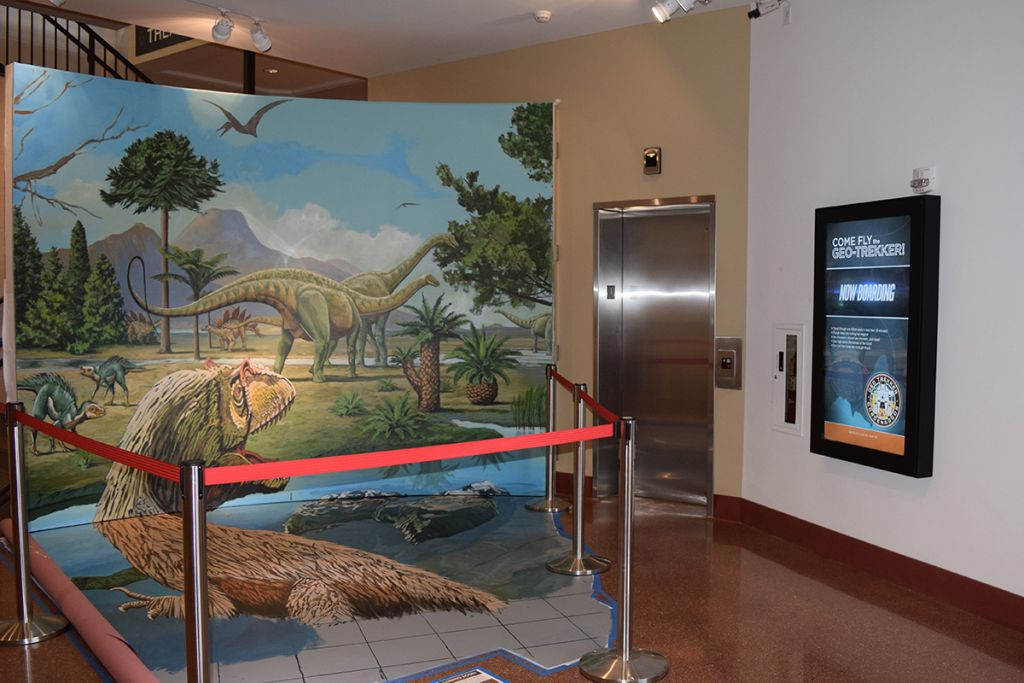 Our sleek LCD Enclosure installed in portrait orientation in a visitor's center / museum.