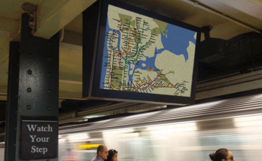 Double sided LCD Guardian helps people find their trains in a NY subway.