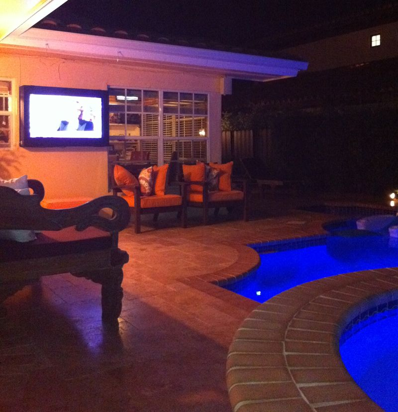 Home owner uses our LCD Guardian to protect poolside TV.